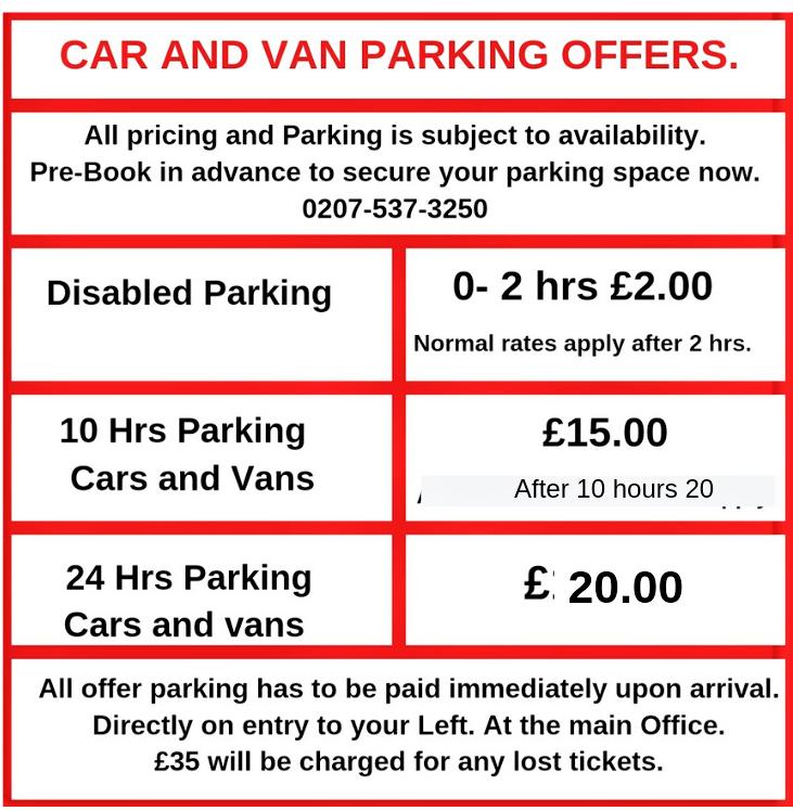 Canary Carpark & wash Ltd. parking Prices.