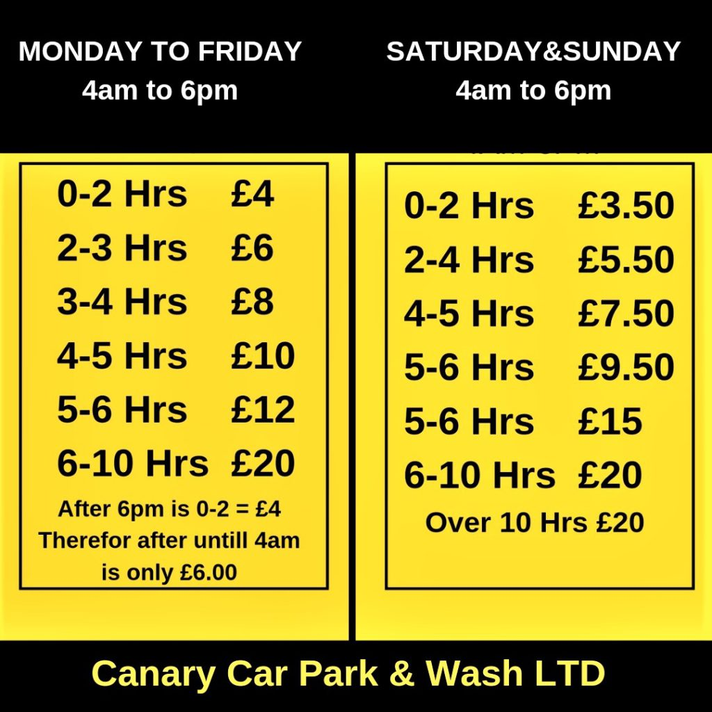 Price Listing and offers canarycarparkandwash Weekend Prices