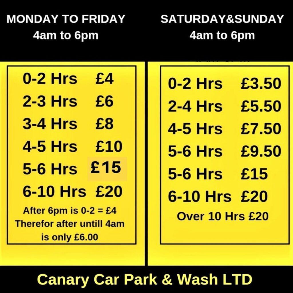 Car parking prices canarycarparkandwash
