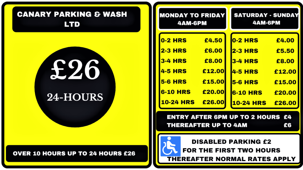 Canary-Parking-Wash-LTD-Parking-Tariffs