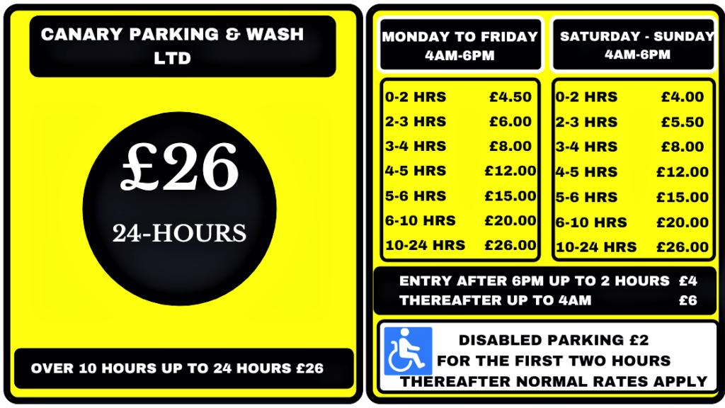 Canary-Parking-Wash-LTD-Parking-Tariffs